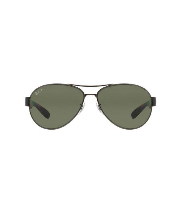073c698913 Ray-Ban RB3509 004 9A Aviator Gunmetal   Green Sunglasses - Buy Ray ...