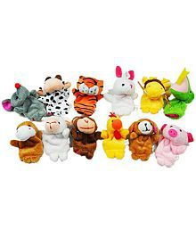 Kuhu Creations Baby Education Finger Puppet Animal Story & Play Toy Velvet Tiger Set Of 12 Pcs