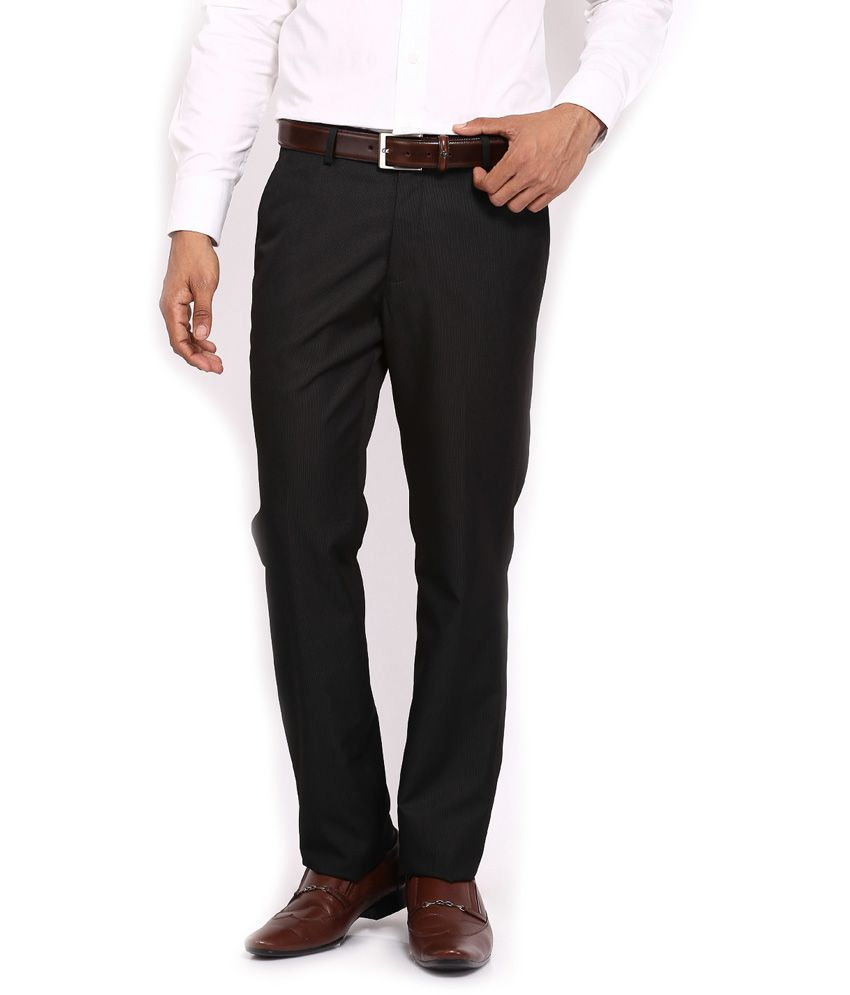 Jhon Diego axe Poly Viscose Black Formal Trouser (tailored Comfort Fit) - For Men