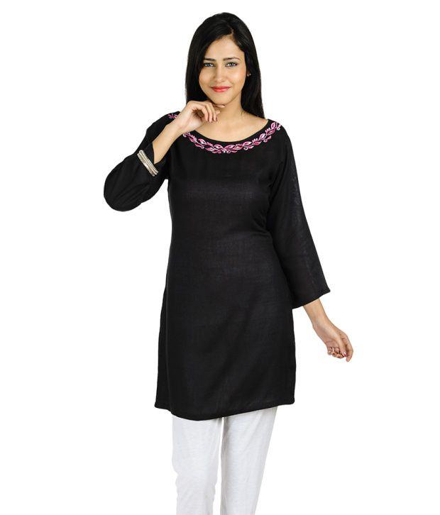 Lingra Black Rayon A Line Dress