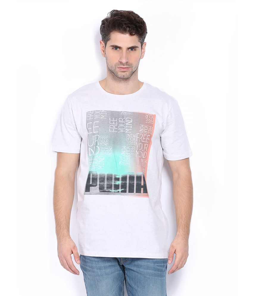 Puma White Cotton Printed T-shirt