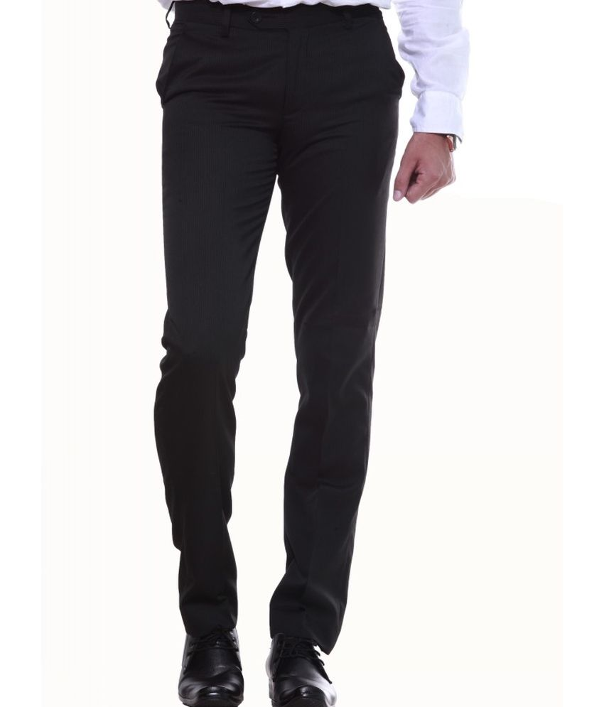 Sangam Apparels Black Poly Viscose Formals Trouser