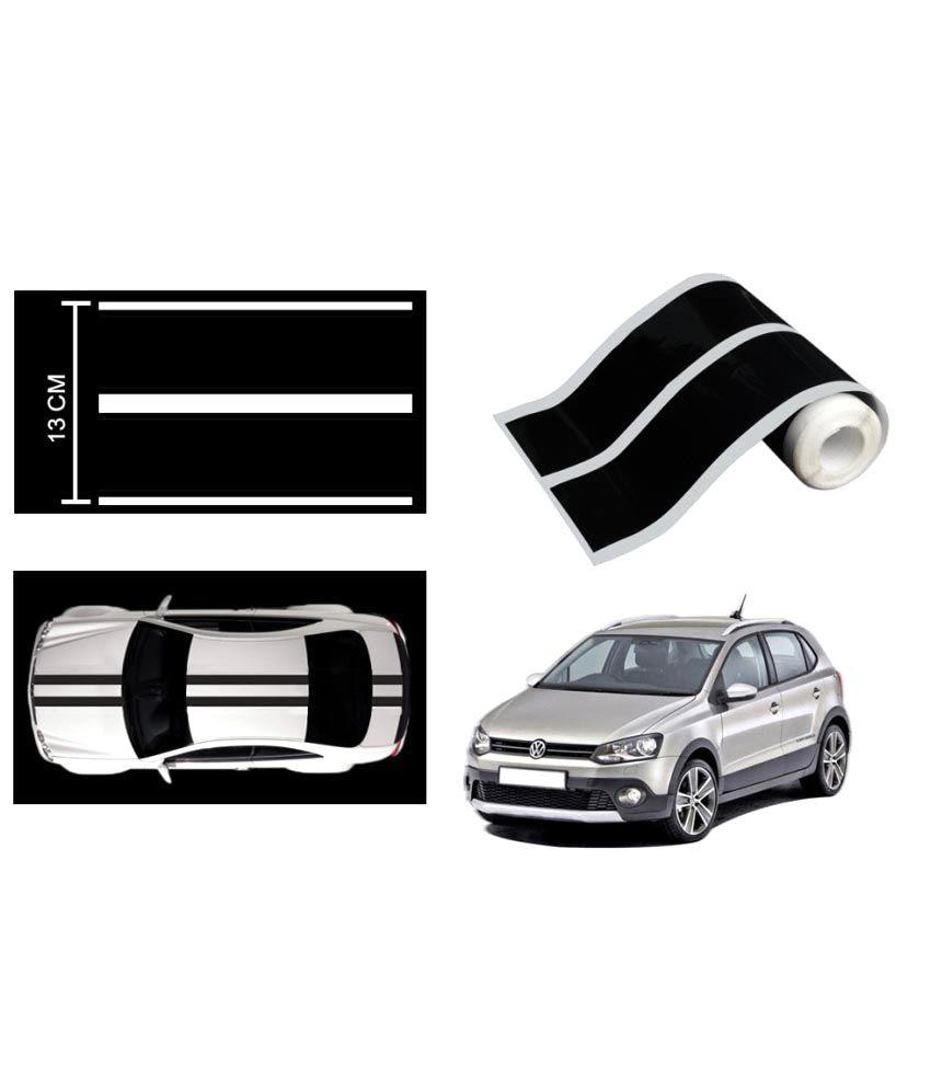 Speedwav Car Racing Stripe Graphic Sticker Black For