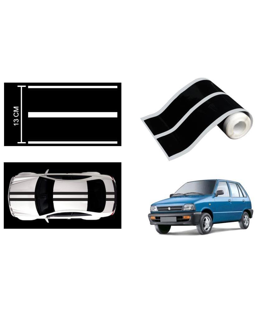 Speedwav car racing stripe graphic sticker black for maruti 800 buy speedwav car racing stripe graphic sticker black for maruti 800 online at low price in