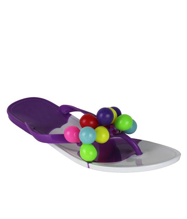 Super Matteress Purple Jelly V Strap Comfort Flat Daily Women Flat Slip On