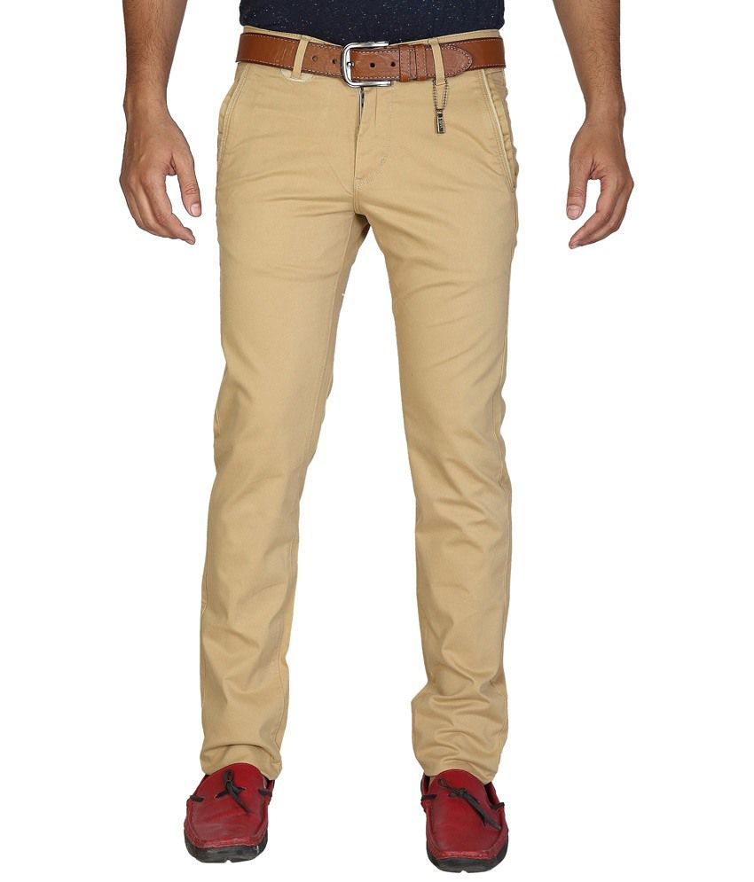 Urban Navy Beige Casual Chinos For Men