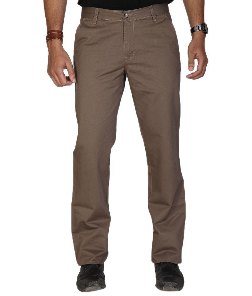 Urban Navy Trendy Brown Flat Casual Trouser For Men