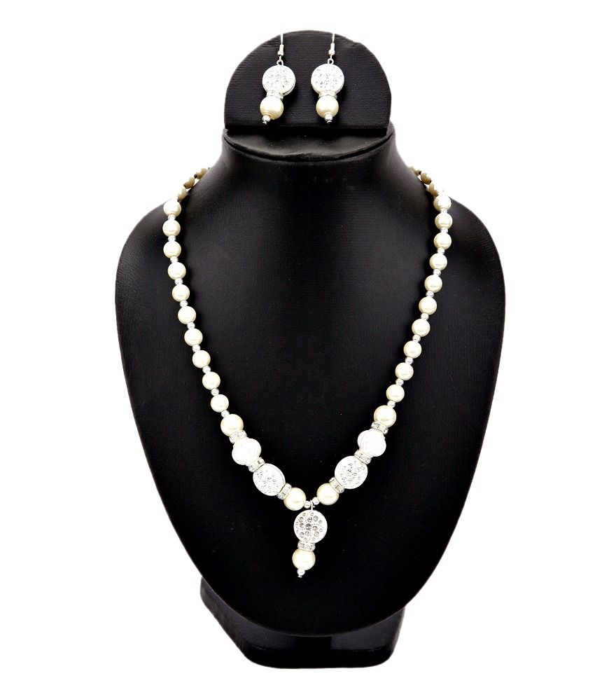 Jdx White Traditional Necklace Set