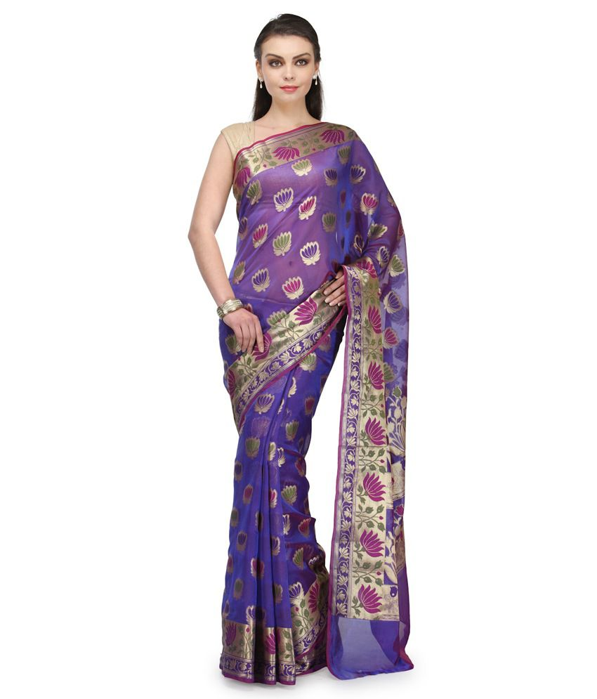 Bunkar Purple Cotton Saree