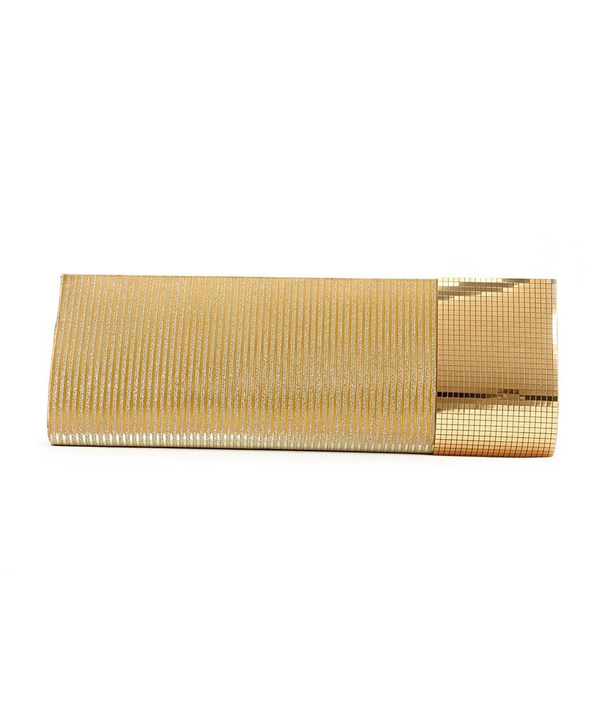 Elligator Stylish Golden Clutch