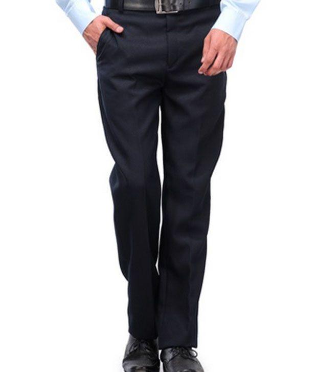 Michelangelo Blue Poly Viscose Regular Fit Formal Trouser
