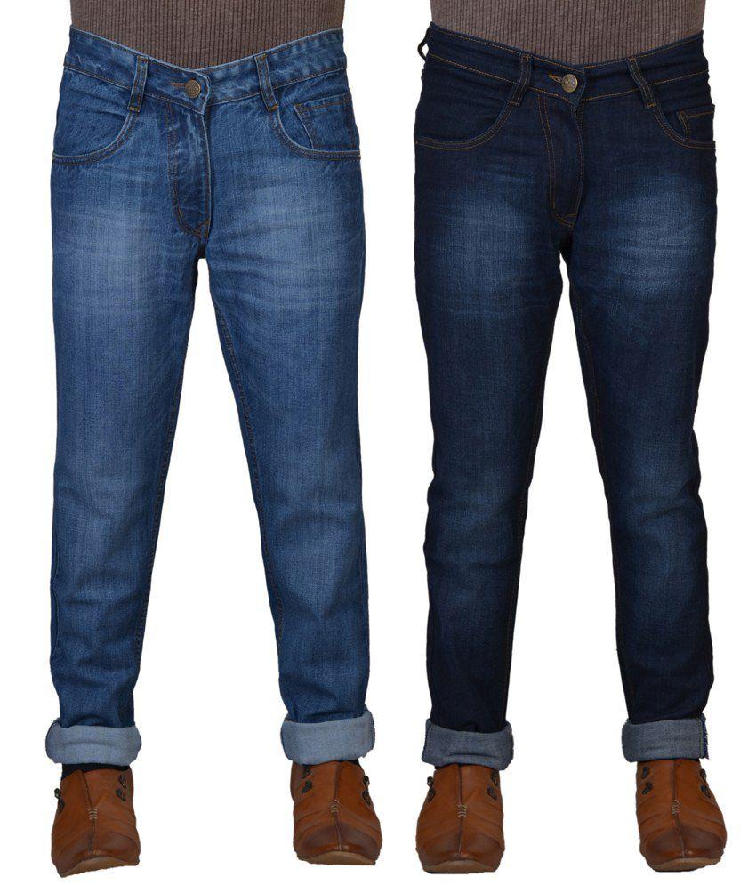 Q-n9ne Blue Cotton Blend Regular Fit Jeans Combo Of 2
