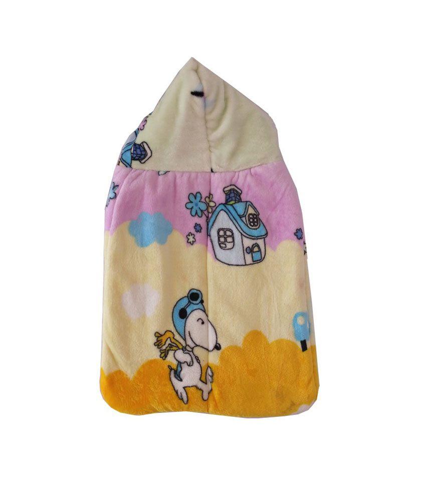 Cute Baby Multicolour Puppy Hut Hooded Mink Sleeping Bag