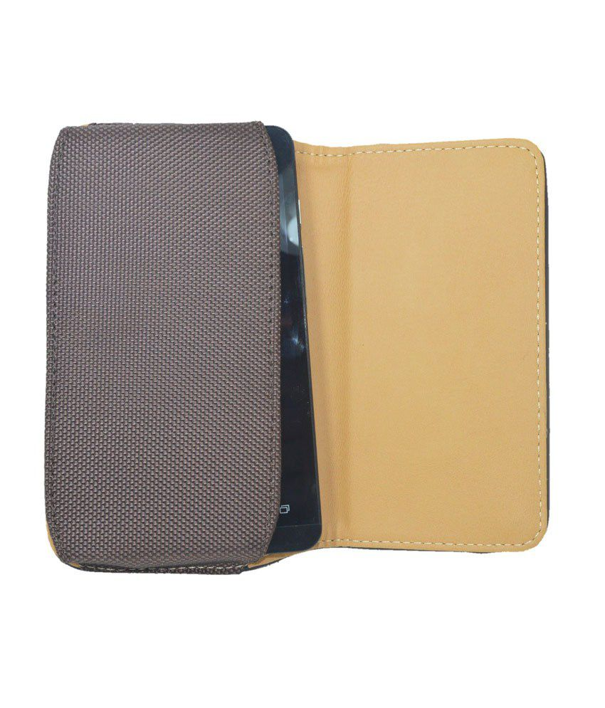Indiacod Brown Leather Belt Pouch For Htc Desire 526g Plus