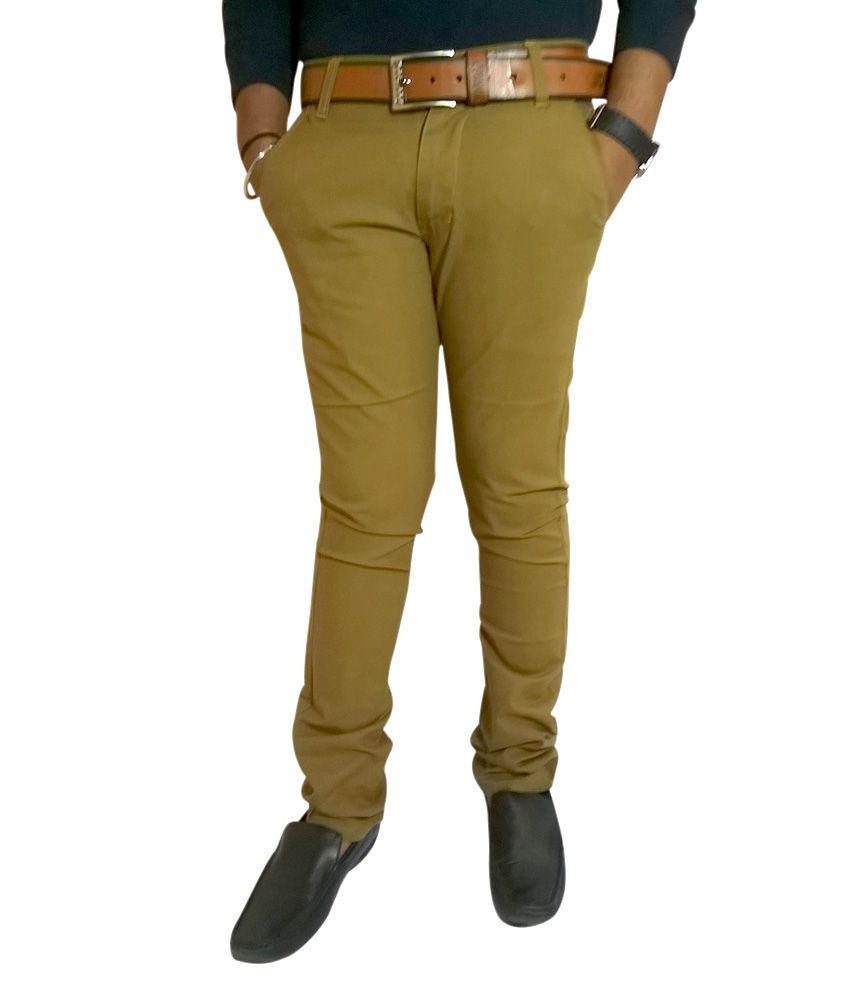 Cool Pad Stretchable Cotton casual trouser for Men - Khaki