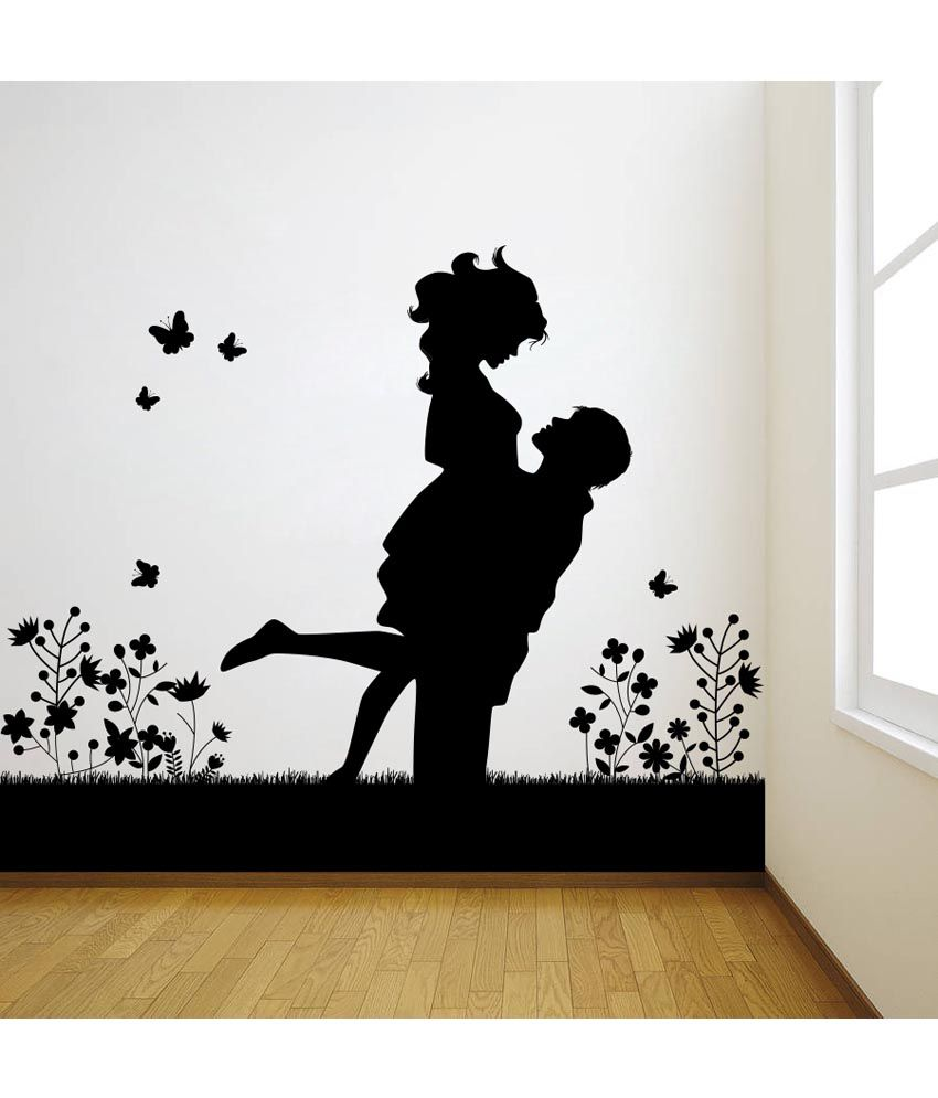 Black Wall Art: Decor Kafe Black Decal Style Lovely Couple Wall Sticker