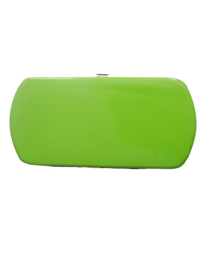 Geetu Non Leather Clasp Hand Clutch - Green