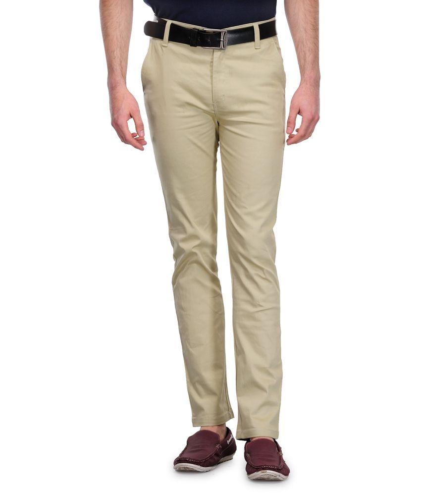 Indiana Beige Cotton Blend Slim Casual Wear Trouser