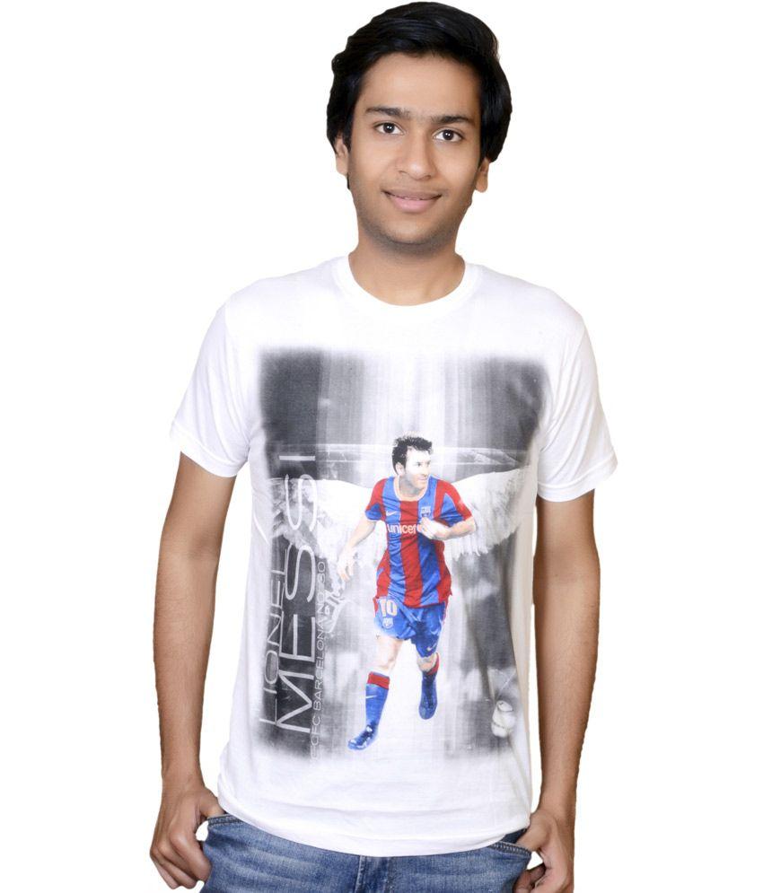 White Cotton Lionel Messi T-shirt
