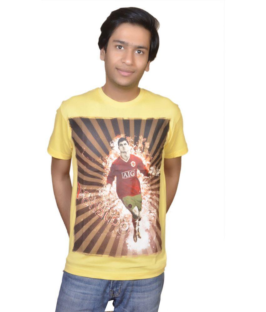 Inez Yellow Cotton Ronaldo T-shirt