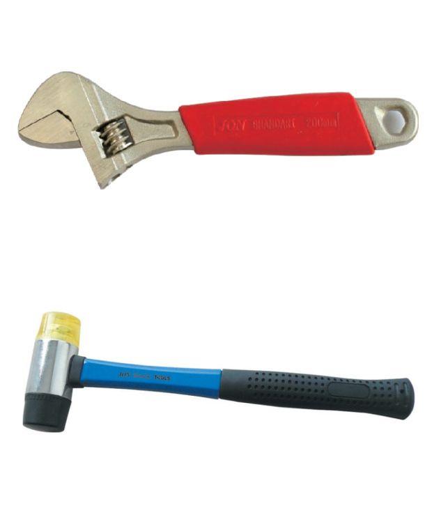 Jon Bhandari Adjustable Wrench And Two Way Mallet Hammer 35 Mm