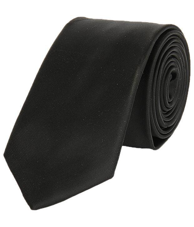 Lino Perros Black Plain Regular Tie