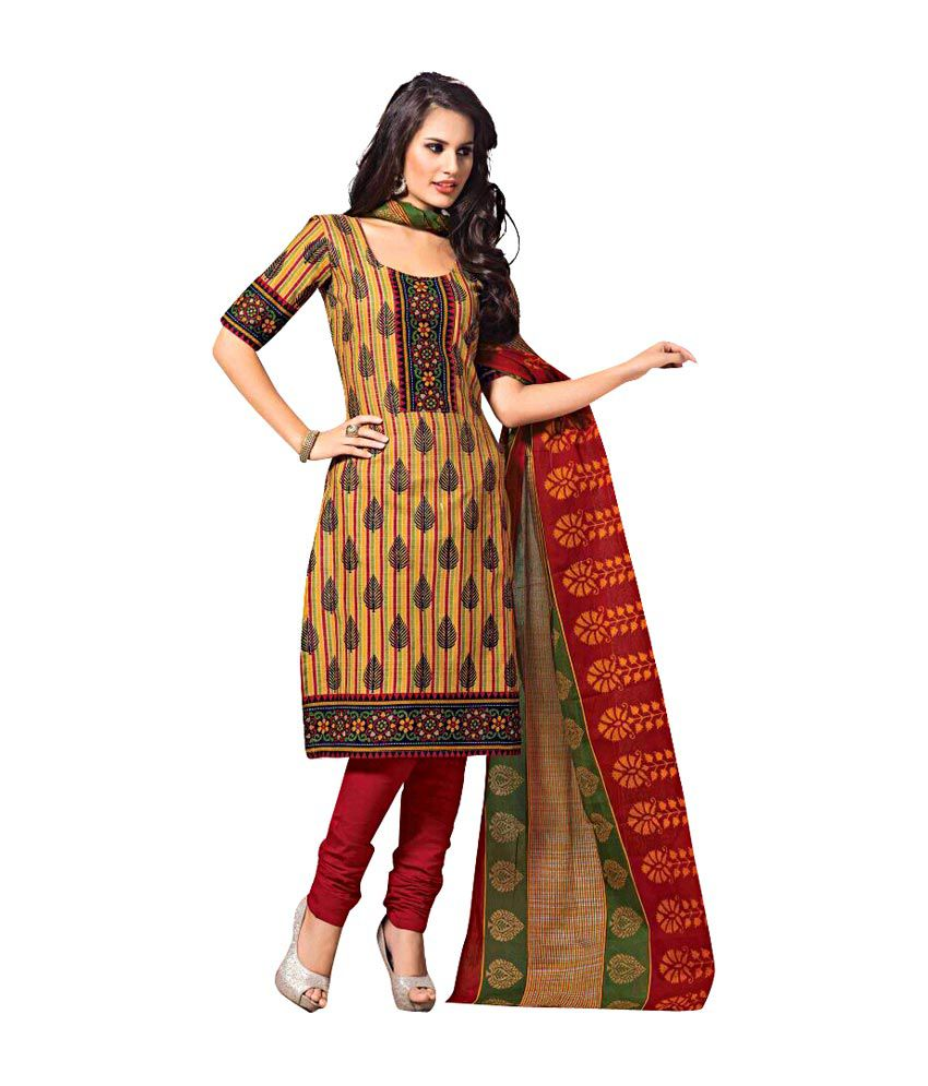 52670a536 ... Cotton Salwar Suit Dress Material - Buy Shree Jee Creations Multi  Printed Cotton Salwar Suit Dress Material Online at Best Prices in India on  Snapdeal