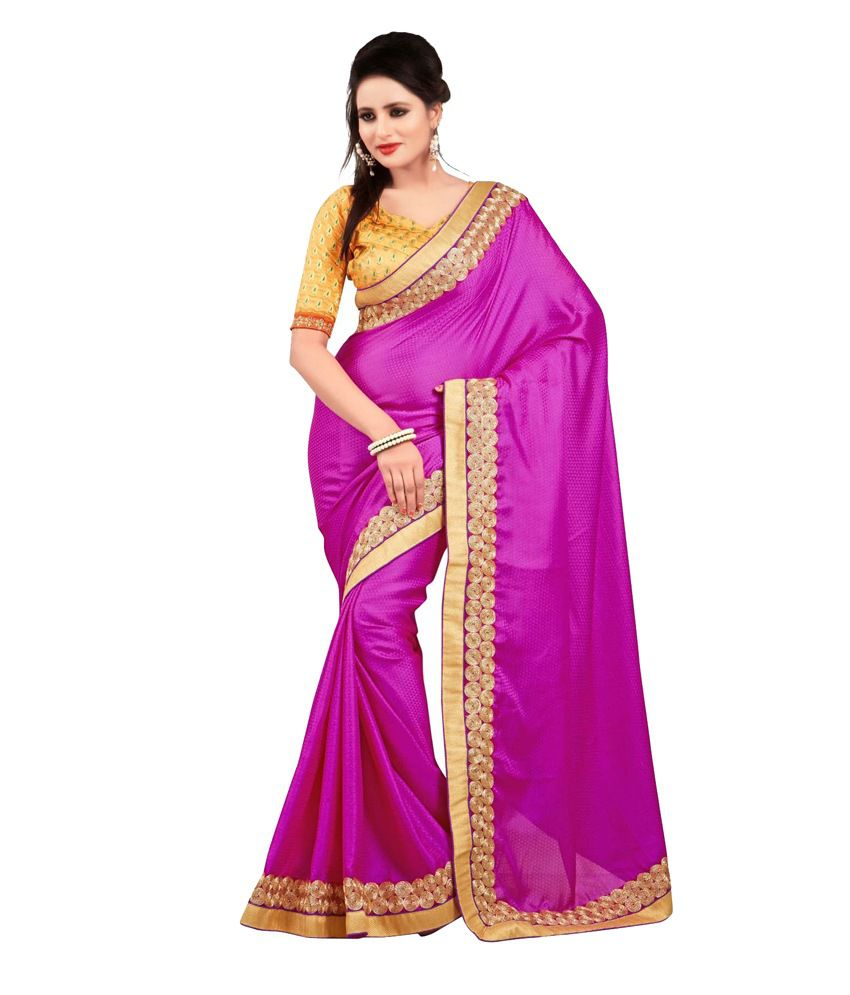 8dd0376a7 Tulsi Myntra Pink Satin Saree - Buy Tulsi Myntra Pink Satin Saree Online at  Low Price - Snapdeal.com