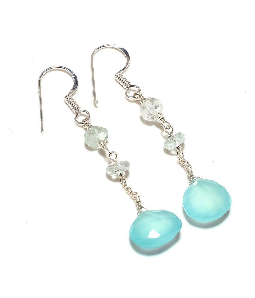 Kirti Gems Aquamarine & Chalcedony Hot New Dangle Earring
