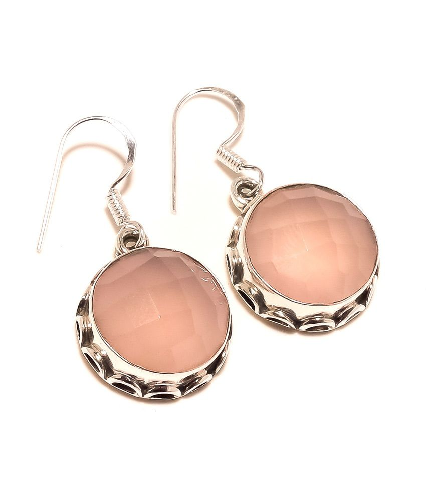 Kirti Impex Pink Chalcedony Hot New Dangle Earring