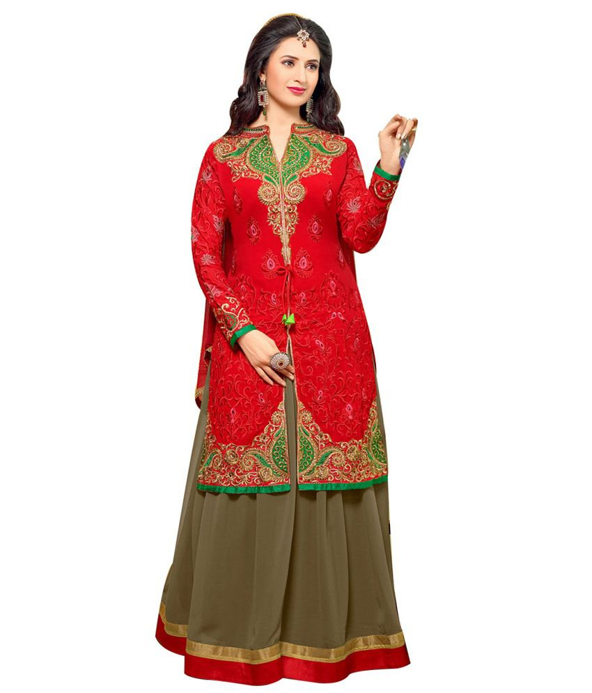 Kusum Red Heavy Designer Long Koti Dress Material Buy Kusum Red