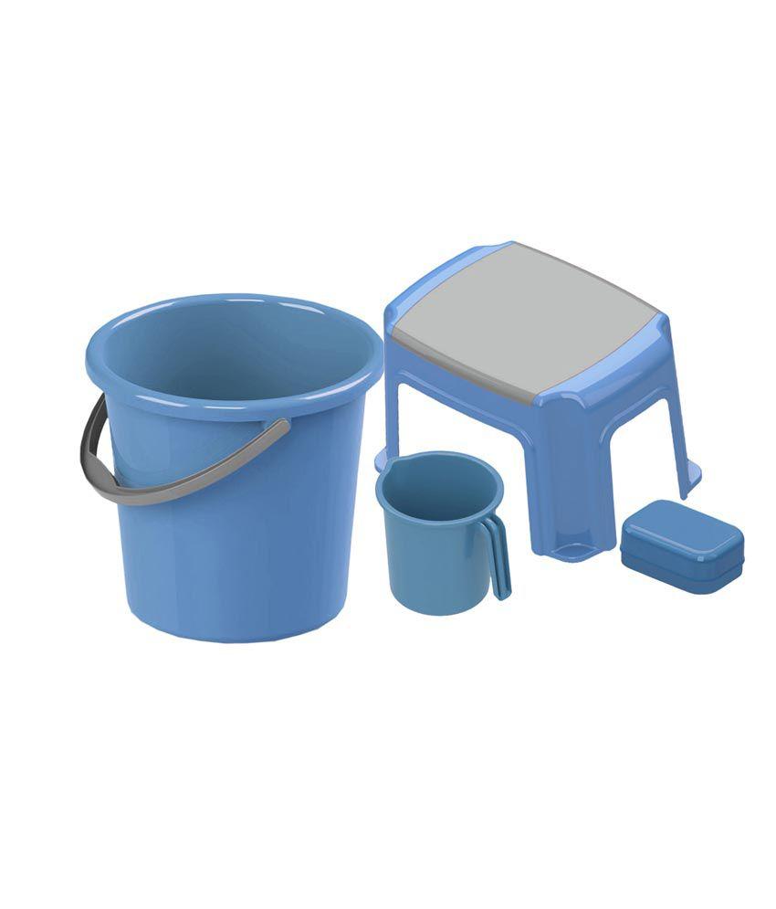 Precia homeware blue bath set of 4 buy precia homeware for Blue bath set