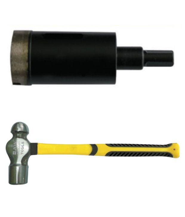 Jon Bhandari Core Bit Diamond Heavy Duty Black Finish And Ball Pein Hammer 8 Oz