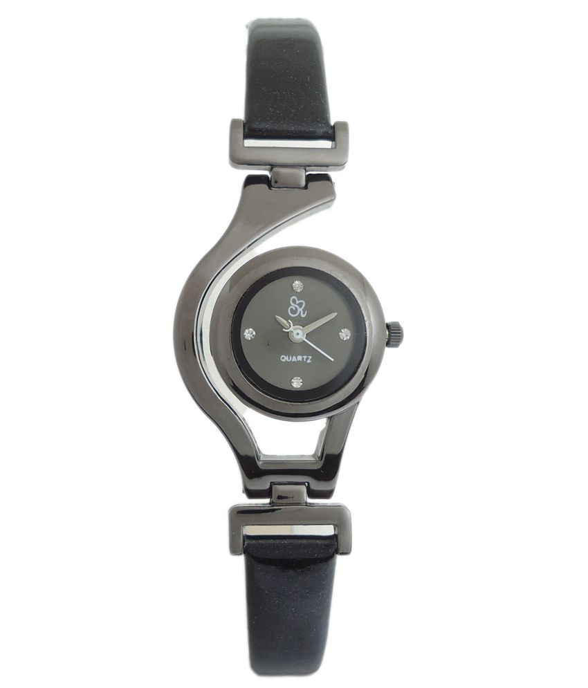 S R Collection S R Collection Black Analog Leather Designer Formal Women Watch
