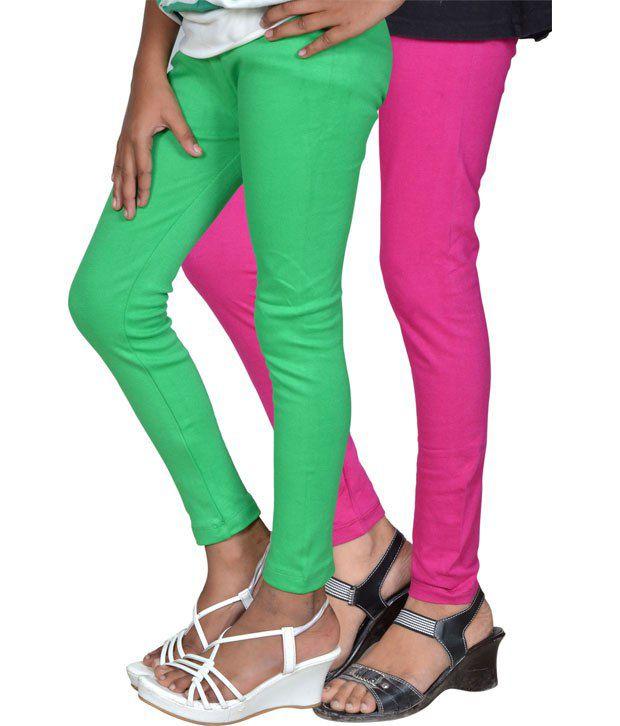 Gee & Bee Cotton Light Green And Fuchsia Colour Leggings