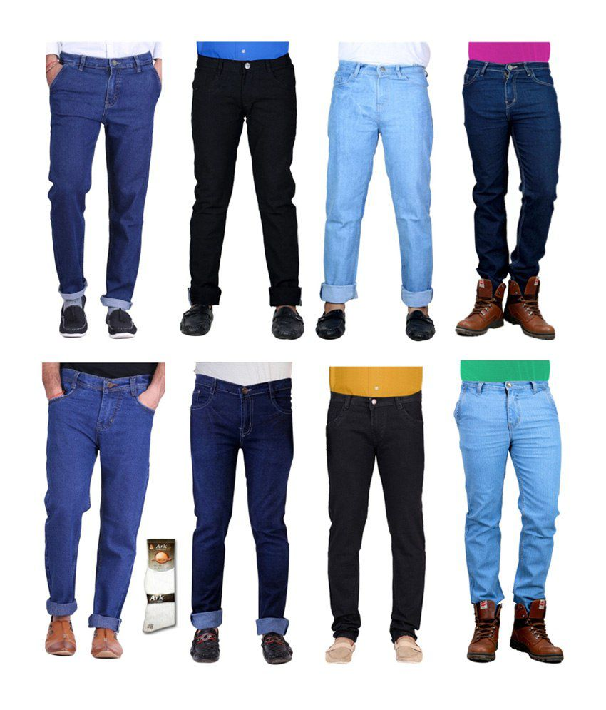 Haltung  Multicolor Cotton Basic Denim Jenas - Combo Of 8