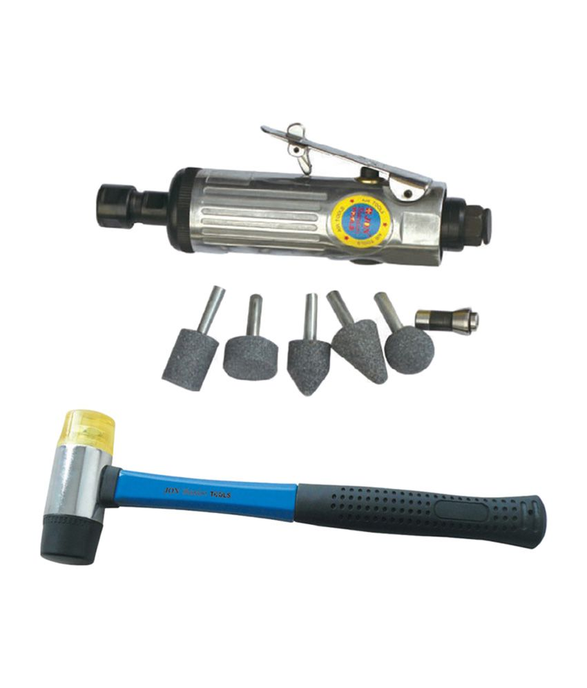 Jon Bhandari Air Die Grinder With 1/4 Inch Chuck & 2-way Mallet Hammer With Rubber & Plastic Handle
