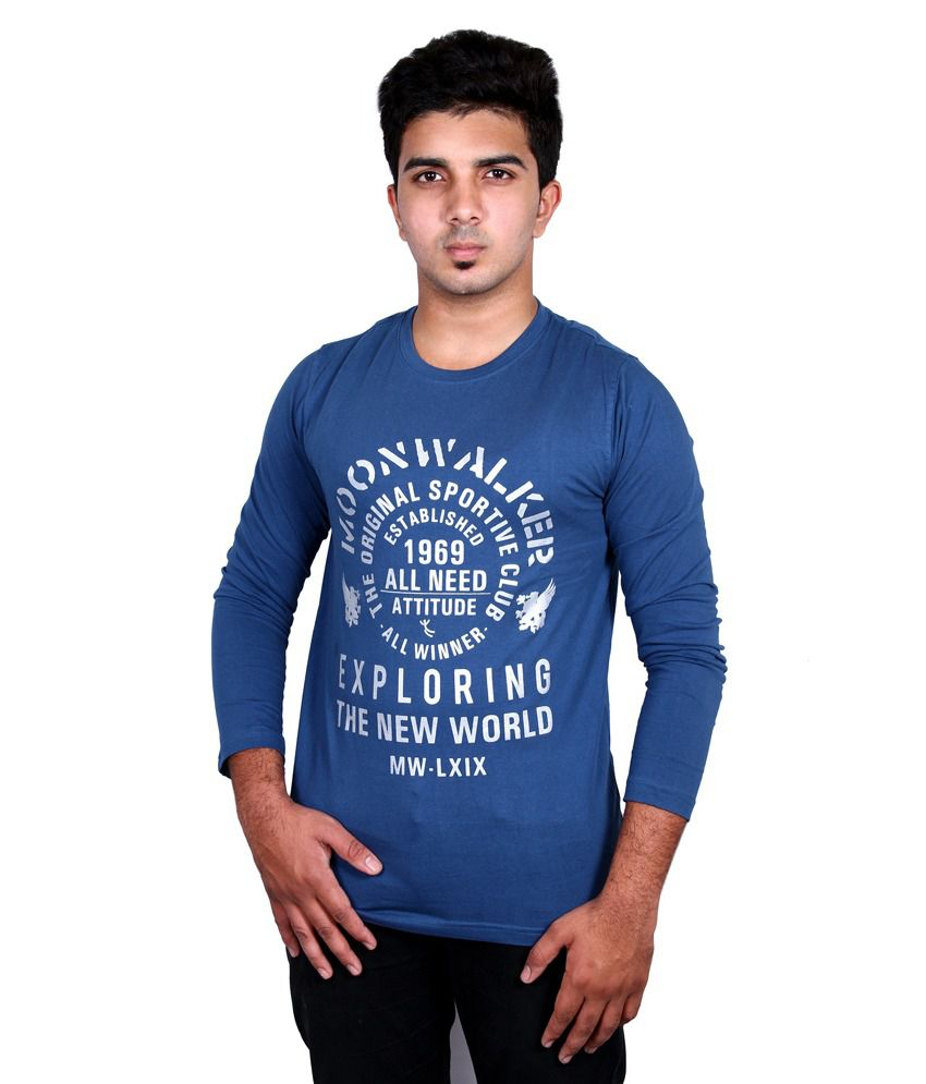 Moonwalker Blue Cotton Round Neck Full Sleeves T Shirt For Men
