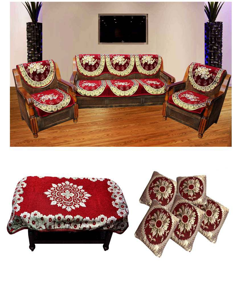 Great Shopgrab Red Sofa Cover Set With Table Cover (12 Pcs)