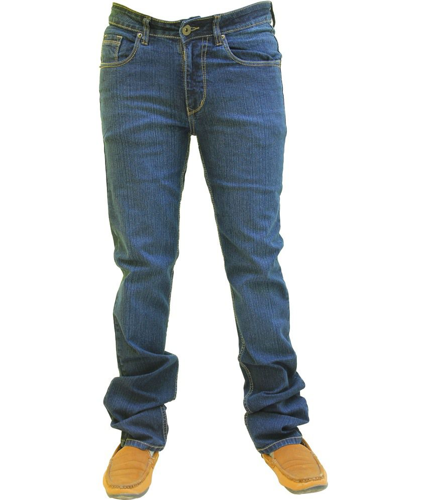 Wabba Blue Cotton Blend Slim Fit Jeans For Men