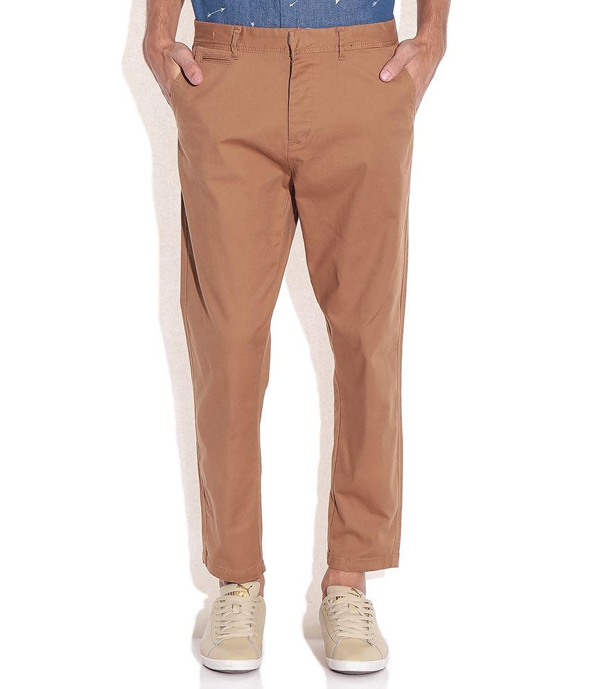 Jack & Jones Brown Cotton Trousers