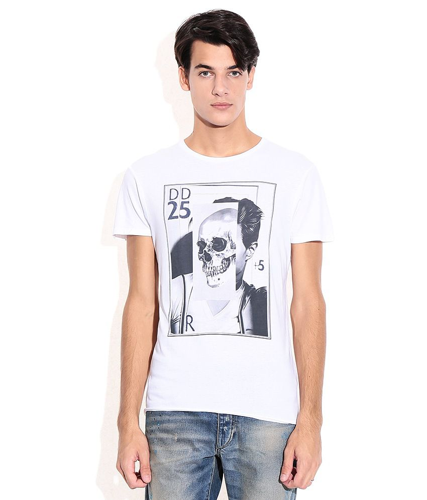 Jack & Jones White Cotton Round Neck T-Shirt