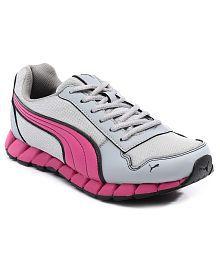Puma Kevler Gray & Pink Sports Shoes