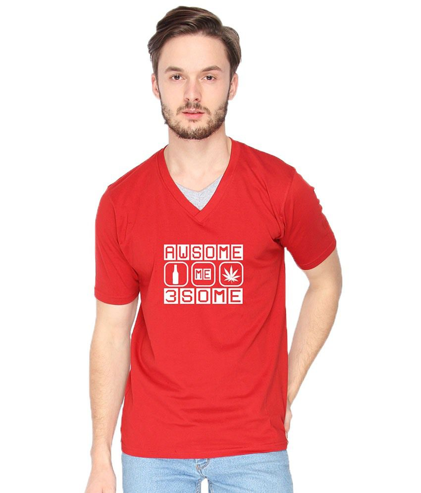 Campus Sutra Awesome Threesome Red & White Graphic T Shirt