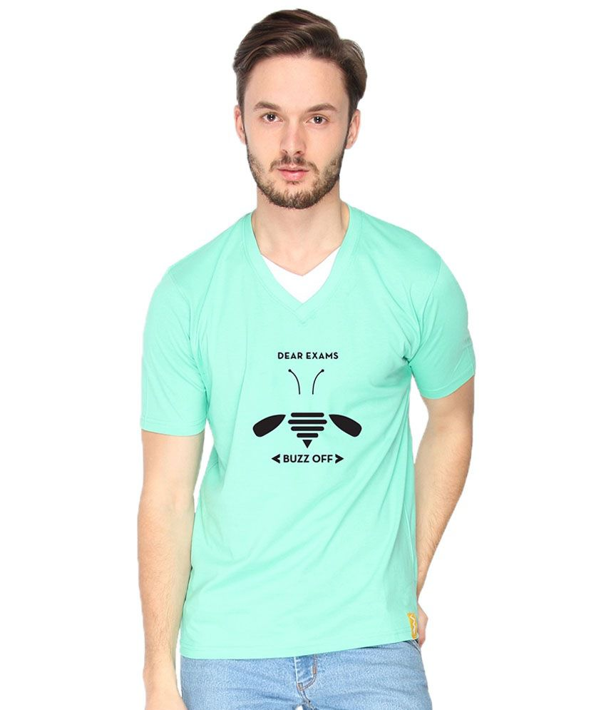 Campus Sutra Buzz Off Sea Green T Shirt