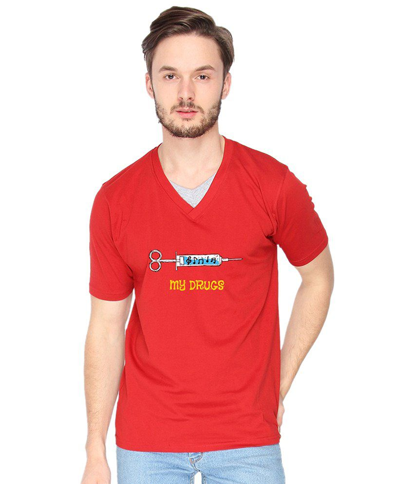 Campus Sutra My Drugs Red & Yellow Graphic T Shirt