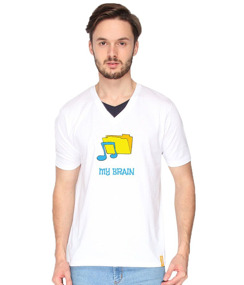 Campus Sutra White My Brain T Shirt