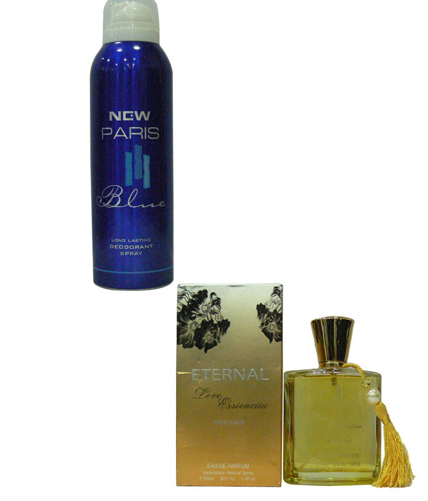 e0c3426568 Eternal Combo Of New Paris Blue Deo Spray For Men And Love Essienciia  Perfume For Women: Buy Online at Best Prices in India - Snapdeal