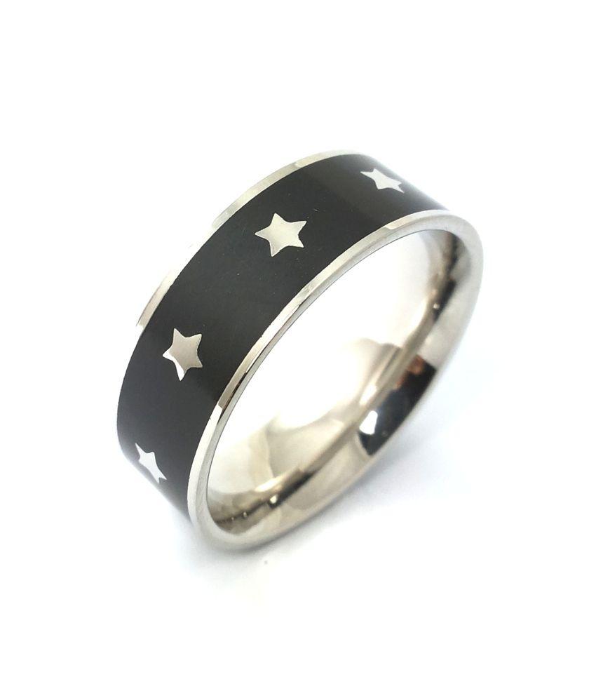 Ammvi Creations Vitruvian Black Enameled 316l Steel Band Ring For Men