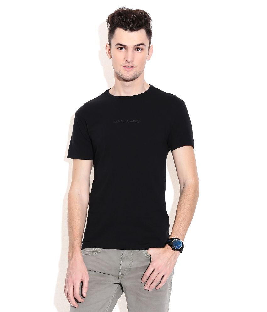 Gas Black Cotton Round Neck T-shirt